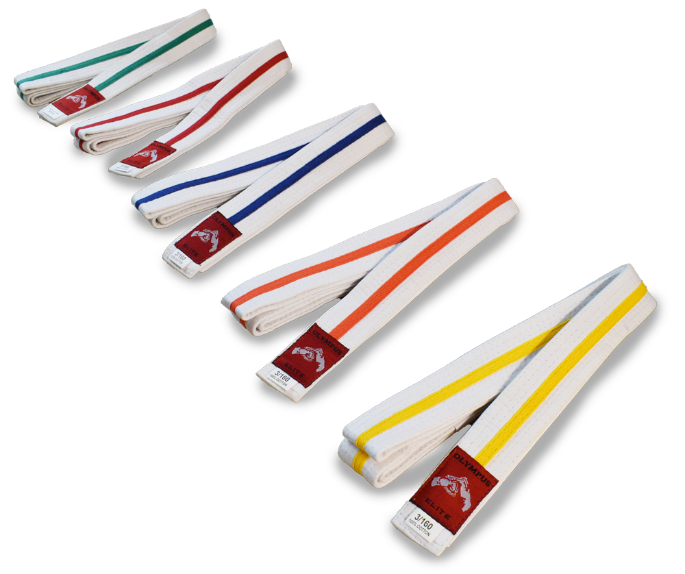 Buy White Belt with Coloured Stripe in NZ New Zealand.